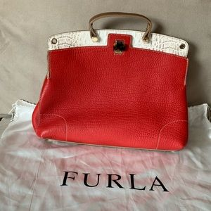 FURLA large red leather purse. NWOT